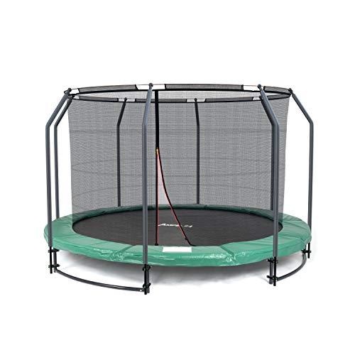 Ampel 24 Deluxe Ground Trampolin 305 cm komplett mit innenliegendem Netz | Sicherheitsnetz mit Stabilitätsring & 8 Stangen | Outdoor Gartentrampolin mit Mehr Sicherheit | für Kinder bis 35 kg