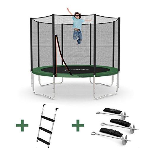 Outdoor Trampolin Ø 305 cm grün mit verstärktem Netz | Gartentrampolin mit Leiter & Windsicherung | Sicherheitsnetz 8 gepolsterte Stangen | Belastbarkeit 150 kg | Gratis Expander