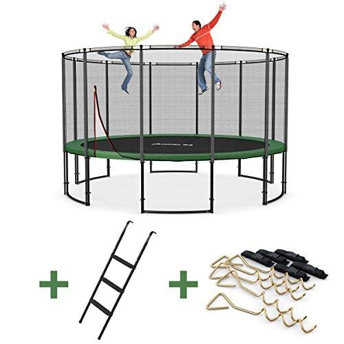 Ampel 24 Deluxe Outdoor Trampolin 430 cm mit Netz, Leiter & Windsicherung | Gartentrampolin mit dem Max an Sicherheit | Belastbarkeit 160 kg | Gratis Expander
