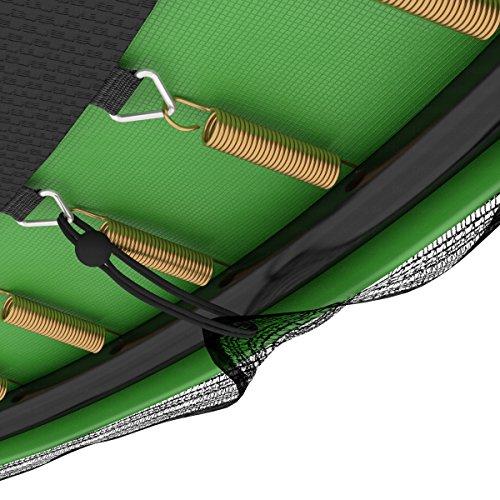 Deluxe Outdoor Trampolin 305 cm mit Netz, Leiter & Windsicherung | Gartentrampolin mit dem Maximum an Sicherheit | Belastbarkeit 150 kg | Gratis Expander - 5