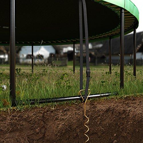 Deluxe Outdoor Trampolin 305 cm mit Netz, Leiter & Windsicherung | Gartentrampolin mit dem Maximum an Sicherheit | Belastbarkeit 150 kg | Gratis Expander - 7