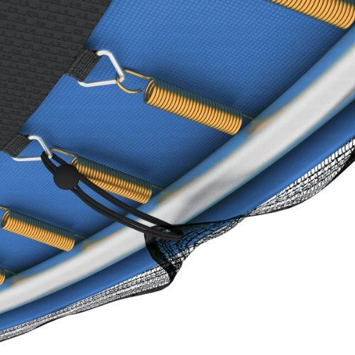 Ampel 24 Outdoor Trampolin Ø 366 cm blau mit verstärktem Netz | Gartentrampolin mit Leiter & Windsicherung | Sicherheitsnetz 8 gepolsterte Stangen | Belastbarkeit 160 kg | Gratis Expander - 4