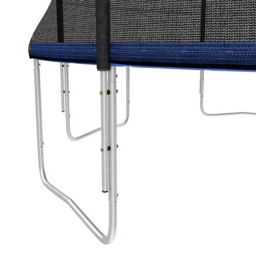 Ampel 24 Outdoor Trampolin Ø 430 cm blau mit verstärktem Netz | Gartentrampolin mit Leiter & Windsicherung | Sicherheitsnetz 6 gepolsterte Stangen | Belastbarkeit 160 kg | Gratis Expander - 3