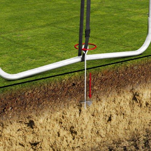 Ampel 24 Outdoor Trampolin Ø 430 cm blau mit verstärktem Netz | Gartentrampolin mit Leiter & Windsicherung | Sicherheitsnetz 6 gepolsterte Stangen | Belastbarkeit 160 kg | Gratis Expander - 7