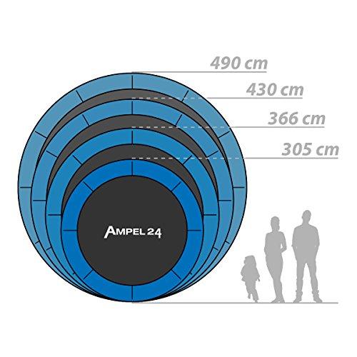 Outdoor Trampolin Ø 430 cm blau | Gartentrampolin Komplettset mit verstärktem Netz | Sicherheitsnetz mit 12 gepolsterten Stangen | Belastbarkeit 160 kg - 7