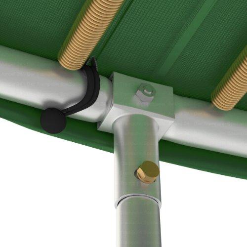 Outdoor Trampolin Ø 430 cm grün | Gartentrampolin komplett mit verstärktem Netz | Sicherheitsnetz mit 12 gepolsterten Stangen | Belastbarkeit 160 kg - 3